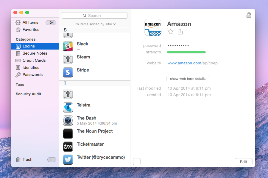 1Password's interface