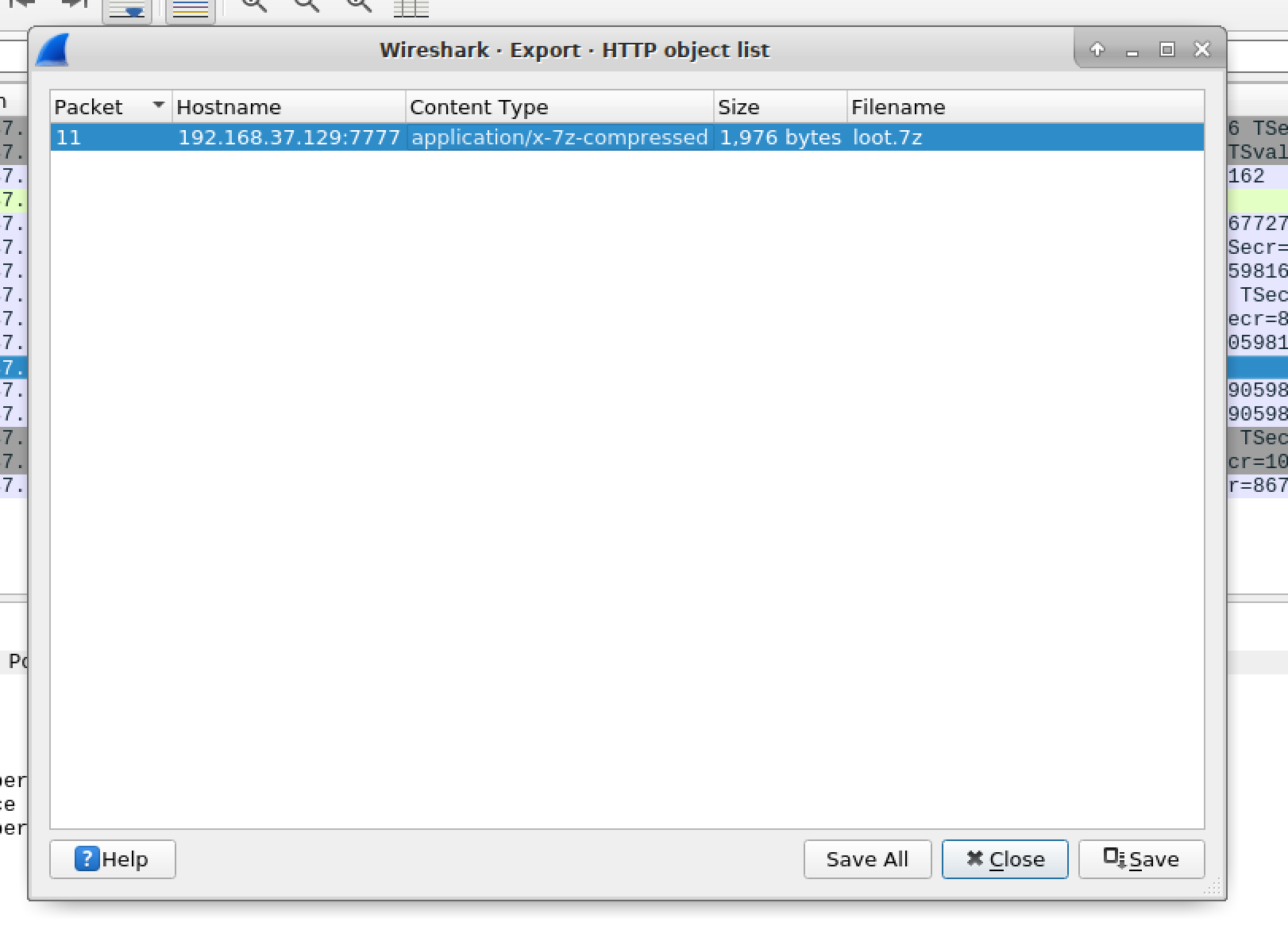 Exporting Wireshark objects